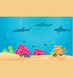 Collection of underwater landscape with shark vector
