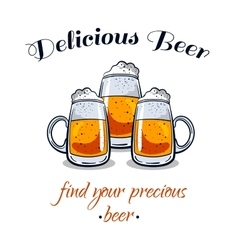 Delicious Beer Mugs vector image