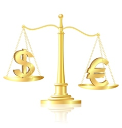 Euro outweighs Dollar on scales vector image