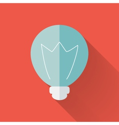 Flat lamp icon over red vector image vector image