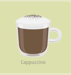 Glass mug of cappuccino with creamy foam vector