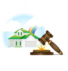 home and gavel real estate vector image vector image