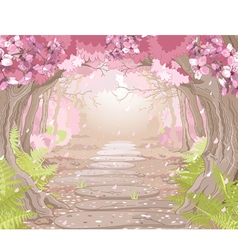 Magic spring forest vector