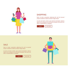 Male and female with colorful shopping bags vector