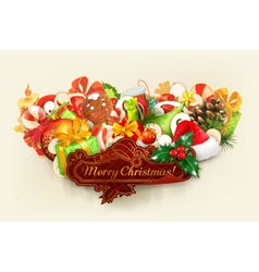 Merry christmas group of objects vector