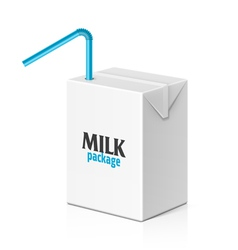 Milk box with drinking straw vector image vector image