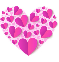 Pink cutout paper hearts vector image vector image