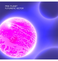 Pink planet futuristic vector