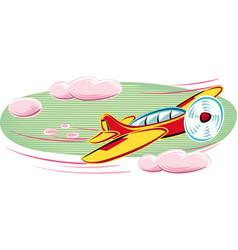 Propeller plane hurtling into the sky vector