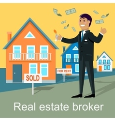 Real Estate Broker Design Flat vector image