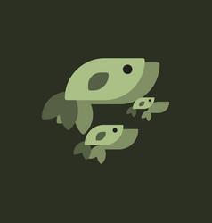 sea fish in sticker style vector image vector image