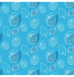 Seamless blue pattern with apple vector image