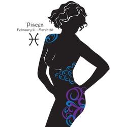 Silhouette of a girl interpretation zodiac sign vector
