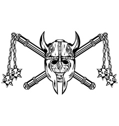 Skull in helmet and crossed maces vector