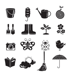Spring Icon Set Monochrome vector image
