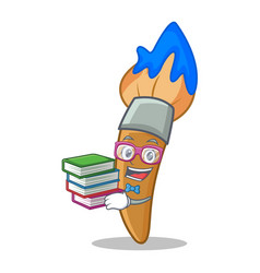 student with book paint brush character cartoon vector image