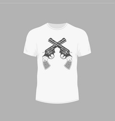 t-shirt with picture of gun revolver vector image