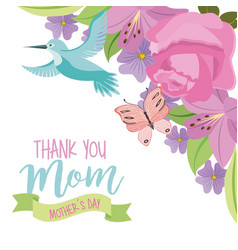 Thank you mom mothers day fly bird and butterfly vector