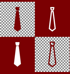 tie sign bordo and white vector image vector image