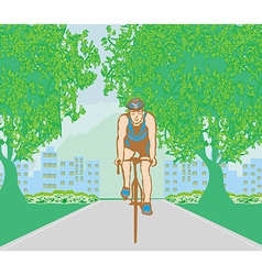 training cyclists in the city park vector image