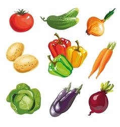 Vegetable set cartoon hand drawn collection vector image