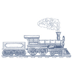 Vintage steam locomotive logo design vector