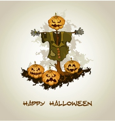 Halloween background with jack o lantern vector image