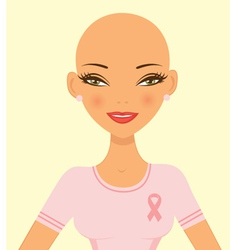 Pink ribbon girl vector image