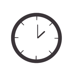 Silhouette wall clock with analog hours vector