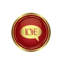 Love speech bubble on red with gold copy vector