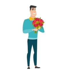 Caucasian businessman holding a bouquet of flowers vector