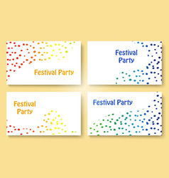 Abstract dots festive party business card set vector