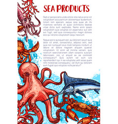 Seafood and fish sea product market poster vector