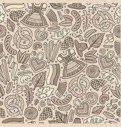 Cartoon cute hand drawn beer fest seamless pattern vector