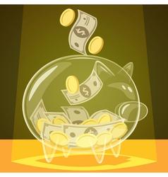 Glass piggy bank vector