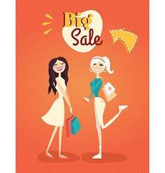 Two girl or woman on shopping sale hold bags retro vector