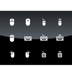 Pc mouse and keypad icons on black background vector