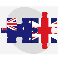 Australia and united kingdom flags in puzzle vector