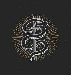 linear monochrome tattoo drawing vector image