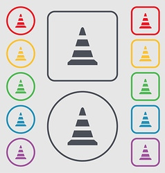 Road cone icon symbols on the round and square vector
