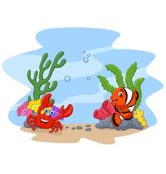 Cartoon clown fish and crab with corral and anemon vector image