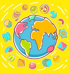 Colorful of planet earth on yellow backgroun vector