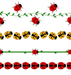 Seamless line with ladybugs vector