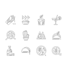 Set of linear mexican food icons vector