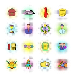 Office and business icons comics style vector