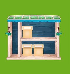 Game wooden store window vector
