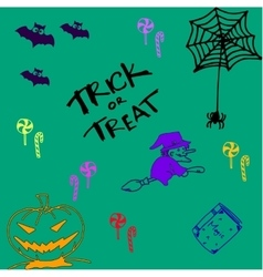 Halloween doodle set witch pumpkins and candy vector