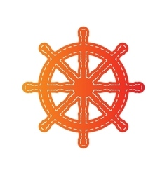 Ship wheel sign orange applique isolated vector