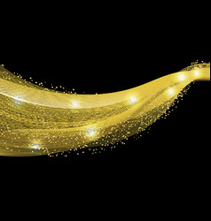 abstract gold wave design element with glitter vector image