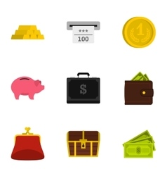 Bank and money icons set flat style vector